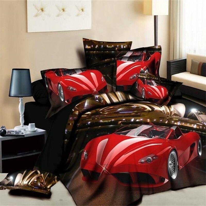 Amazing Fashion Red Race Car Bedding Set Duvet Cover Bed Sheets Pillowcase Cotton  Bedroom Textiles Sets 4pcs