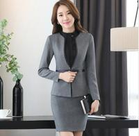 Fashion Autumn Long sleeve workwear office uniform designs women plus size skirt suit OL summer slim ladies suits formal set