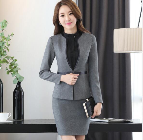 Mode automne à manches longues vêtements de travail bureau uniformes conceptions femmes grande taille jupe costume OL été slim dames costumes ensemble formel
