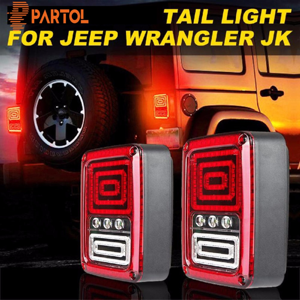 Partol 35W LED taillight With Running Brake reverse backup Taillamp Car rear Turn Signal For Jeep Wrangler JK 07-16(Eur version) led integrated taillight for jeep wrangler jk 2007 2016 snake style brake light reverse rear lights eu us version