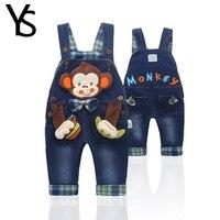 トップ品質綿100%幼児赤ちゃんの女の子/男の子デニムオーバーオールジーンズロンパース猿動物ベビー服幼児ジャンプスーツ