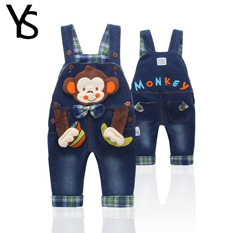 0-3T Top Quality 100% Cotton Infant Baby Boys Denim Overalls Jeans   Rompers   Monkey Animal Bebe Clothes Toddler Jumpsuit Clothing