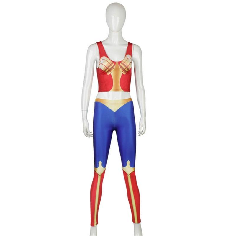 Wonder woman Cosplay Leggings Women Sport Pants Skinny Fitness Legging Tops Tee Wonder Woman Zentai Halloween Costume for women