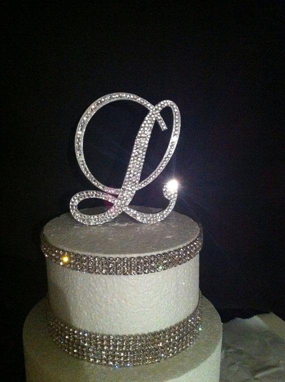 Monogram Wedding Cake Topper Crystal Initial Any Letter A B C D E F G H I J K L M N O P  ...