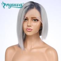 NYUWA Синтетические волосы на кружеве парики предварительно сорвал отбеленные узлы два тона Серый цвет прямо Реми натуральные волосы боб пар