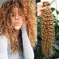 Briziian Honey blonde virgen del pelo rizado rizado 4 paquetes #27 de color 12-26 pulgadas 100% ombre armadura del pelo humano recto rizado pelo