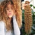 Honey blonde Briziian virgin hair kinky curly 4 bundles #27 colored 12-26 inch 100% human hair weave ombre kinky straight hair