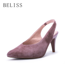 BELISS summer elegant shoes woman genuine leather shallow ladies sandals high thin heels sexy verano women fashion S30