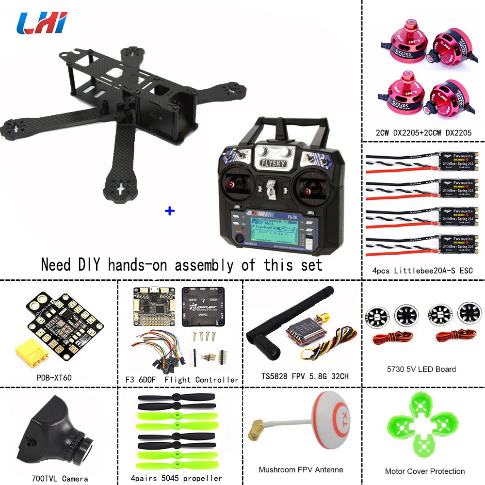 LHI RC drone cadres 220 Quadcopter Cadre En Carbone Plein Kit + DX2205 2300KV Brushless Moteur + Littlebee 20A Mini ESC + 5045 hélices