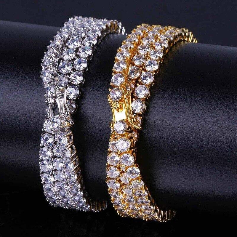 1 rangée hommes collier incrusté glacé CZ cristal chaîne or argent Hip Hop 4mm chaînes de Tennis colliers mode mâle bijoux cadeau