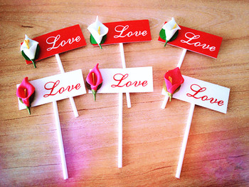 """100PCS/LOT Red Series """"LOVE"""" Calla Eternal Love Paper Made Cake Toppers Picks Cupcake Decoration"""