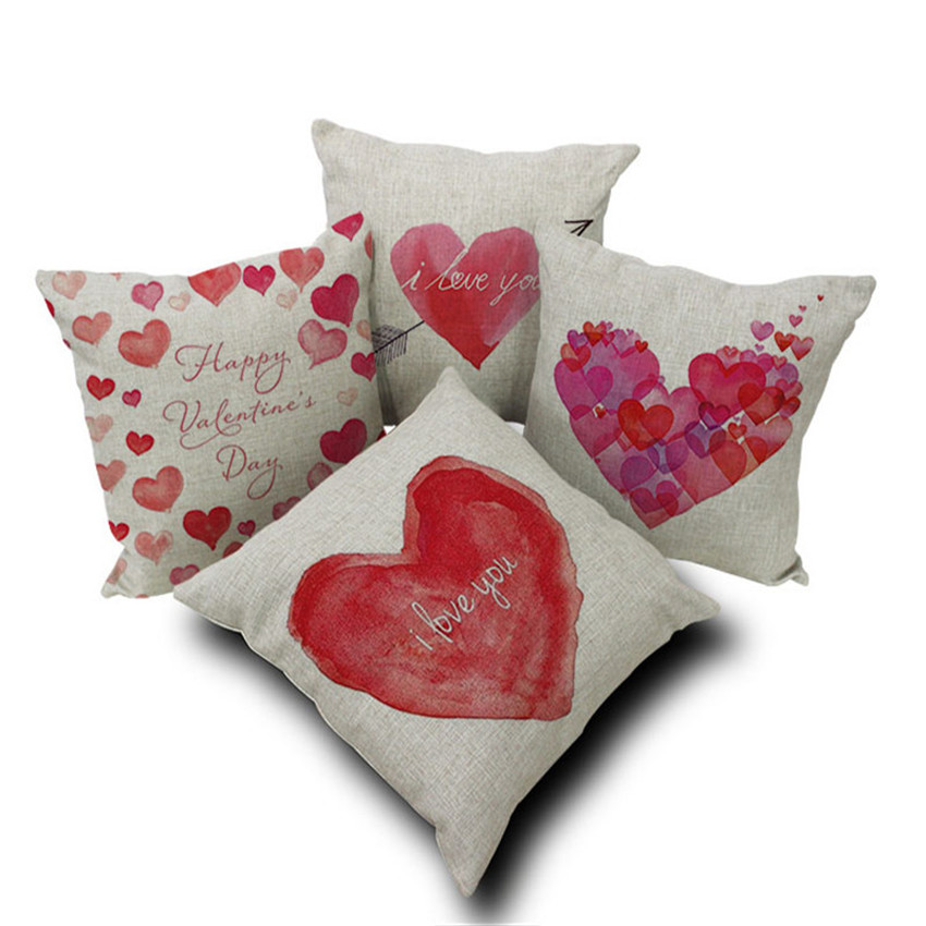 Happy Valentine's Day Decoration Linen Pillow Cover for Couple Red Heart Shape Cushion Cover Home Sofa Car