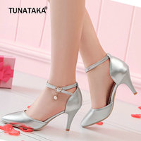Ladies Summer Pumps Fashipn Thin High Heels Sexy Pointed Toe Buckle Party Shoes Women Gold Silver Pink