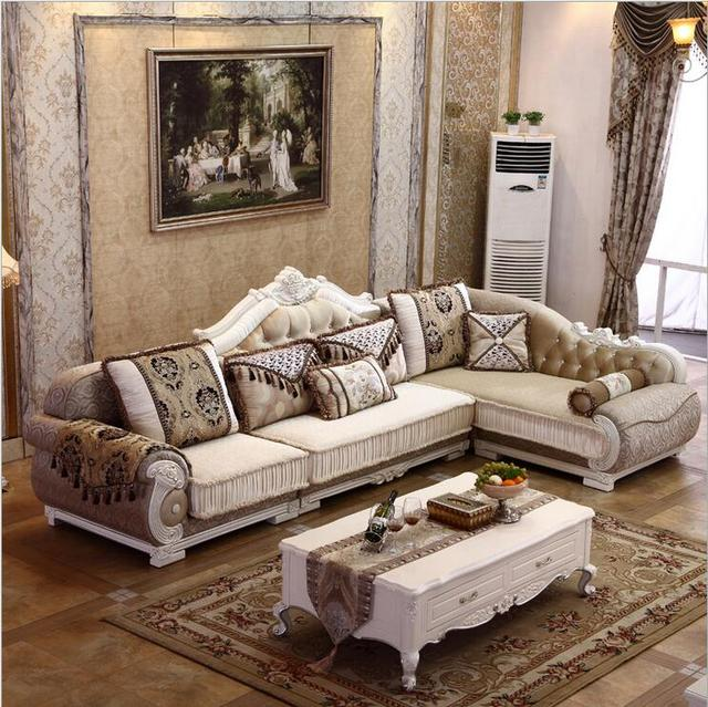 Living Room Furniture Modern Fabric Sofa European Sectional Set 1069