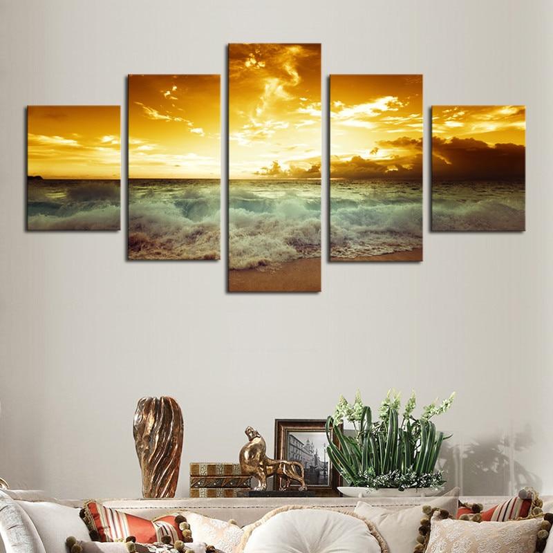Okvir 5 plošče čudovita morska pokrajina platno tisk slikarstvo - Dekor za dom - Fotografija 4