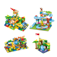 Baby Kids Educational Toy DIY Marble Construction Race Run Building Blocks Compatible with Assemble Bricks Toys for Children sy339 phantom ninja enter the serpent thunder sworosman assemble figures building blocks children toy baby toys