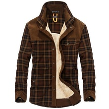 Brand Shirt Men Winter Thick Warm Shirts Wool Fleece Plaid Casual Long Sleeves Shirt Male Military Flannel High Quality Clothing