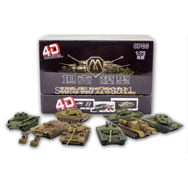 Plástico 4D montado depósito de Kits de ocho tanques 1 : 72 escala modelo ensamblar del rompecabezas juguetes militares para los niños envío gratis