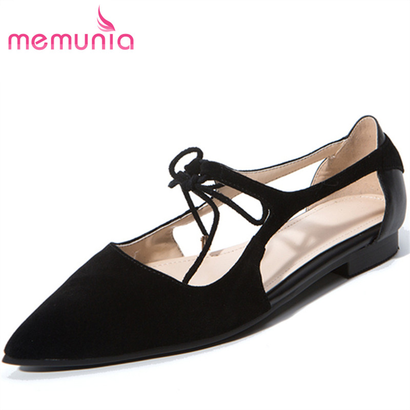 MEMUNIA 2017 new arrive women pumps fashion pointed toe lace-up low heels single shoes sweet college style ladies prom shoes memunia 2017 fashion flock spring autumn single shoes women flats shoes solid pointed toe college style big size 34 47