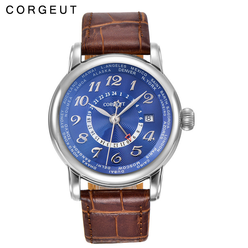 все цены на Corgeut Luxury 43mm Blue dial GMT Stainless steel case leather strap calendar date automatic men watch онлайн