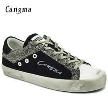 4f1c846007e CANGMA Sapatilhas Mulheres Sapatos Feitos À Mão de Luxo Outono Preto Branco  Low Top Cow Camurça