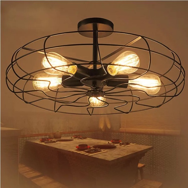 Country Kitchen Lighting: 5Heads E27 Base Iron Material Vintage Retro Industrial Fan