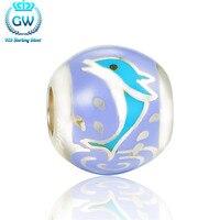 Sterling silver biżuteria blue dolphin srebrny emalia charm dystansowe koraliki na bransoletki i bransolety marki amld015 gw biżuterii