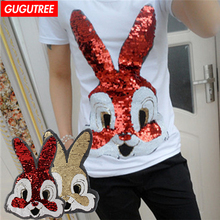 GUGUTREE embroidery paillette patches big rabbit for T-shirts,hats patch,appliques,badges