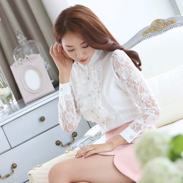 bd3bd681385 Online Shop Women Shirts Sweet Spring Fashion Female Lace Stitching Hallow Sleeve  Chiffon Blouse Office Lady Shirt Plus Size Slim White Tops