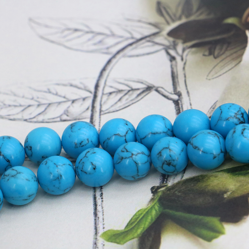 """Nouveau 8//10//12mm Turquie Bleu Turquoise Pierres Précieuses Perles Bracelet 7.5/"""""""