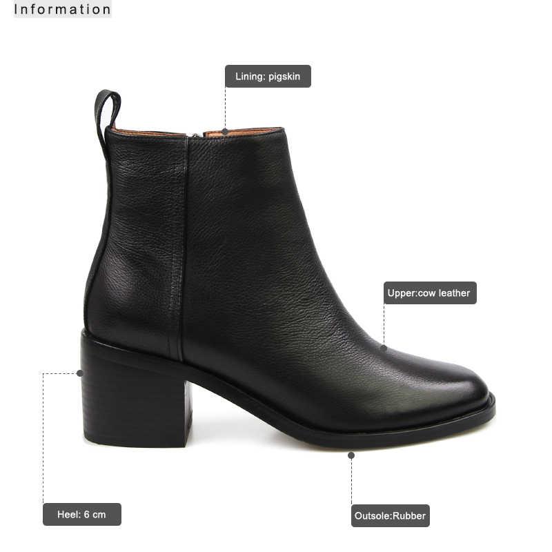 ISNOM kadın hakiki deri ayakkabı topuklu blok kadınlar Zip yarım çizmeler yumuşak lastik çizmeler kış kadın Chelsea çizmeler moda 2020