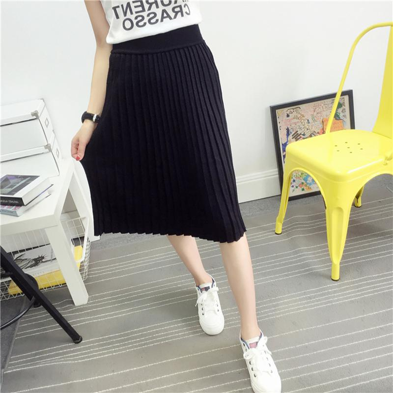 Women's Cute Pleated Korean Midi Skirt 2018 Autumn Winter Casual High Waist Stretchy Knitted Cotton Wool Slim Black Skirts SK104