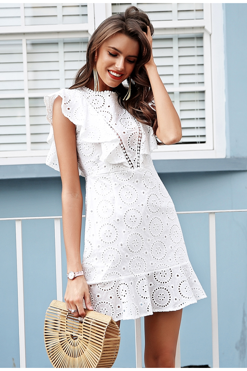 Embroidery Cotton Ruffle Sleeve High Waist White Dress