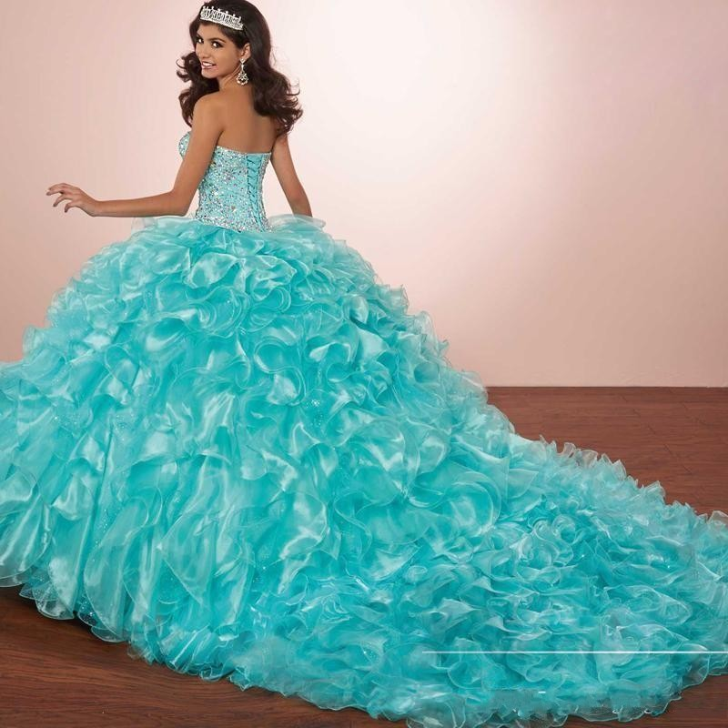 Luxury Crystals Princess Puffy Quinceanera Dresses Turquoise Ruffles Vestidos De 15 Masquerade Dress With Bolero Jacket