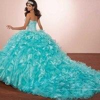 Luxury Crystals Princess Puffy Quinceanera Dresses Turquoise Ruffles Vestidos De 15 Masquerade Dress with Bolero jacket