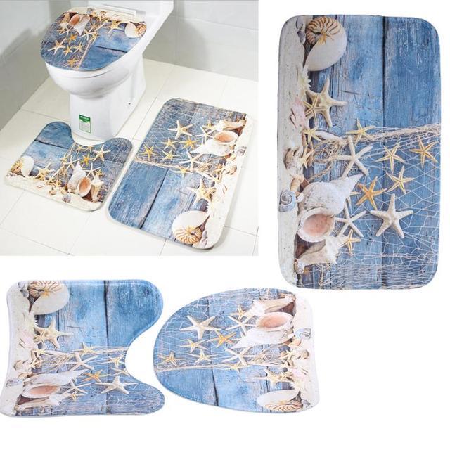 3 pz/set Nuovo Modello Bagno Tappeto Set Antiscivolo Anti Slip Piedistallo Coperchio Wc Coprire Tappetino Da Bagno Tappeto Bagno Prodotto