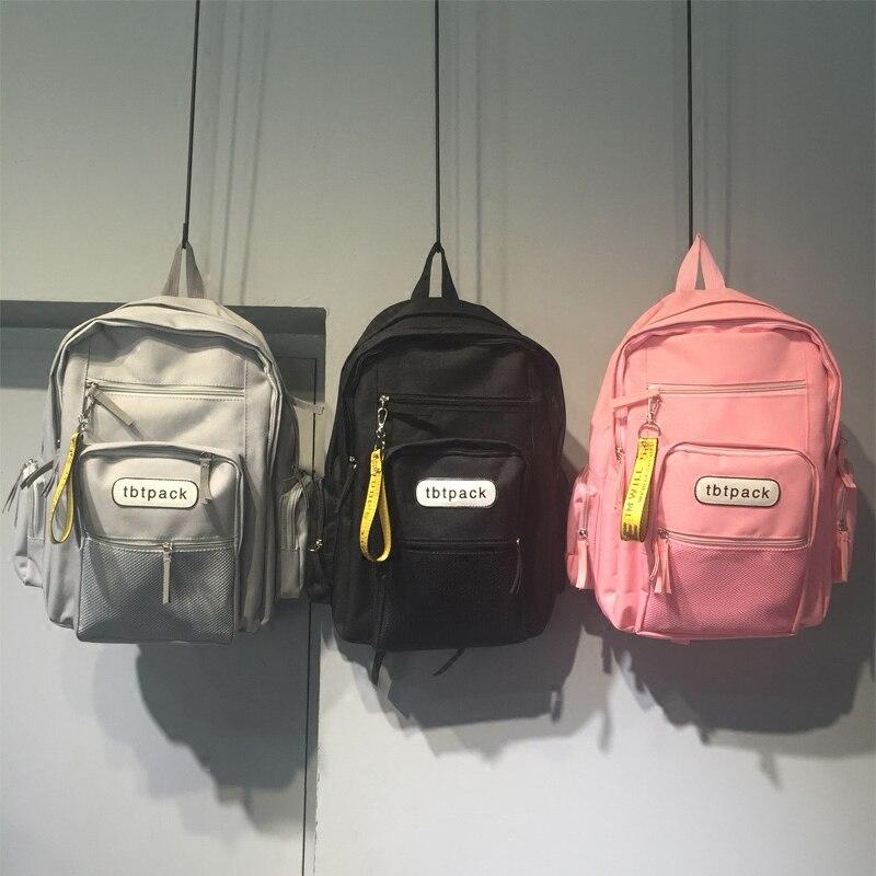 Hong Kong Style School Bag Korean Harajuku Ulzzang Backpack Junior High School High Capacity Backpack Girl Canvas Backpack
