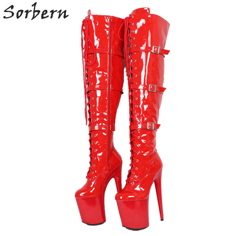 Sorbern Classic Extreme High Heel Boots For Women Mid Thigh High Ladies Boot Thick Platform Custom Shaft Length Width Boots