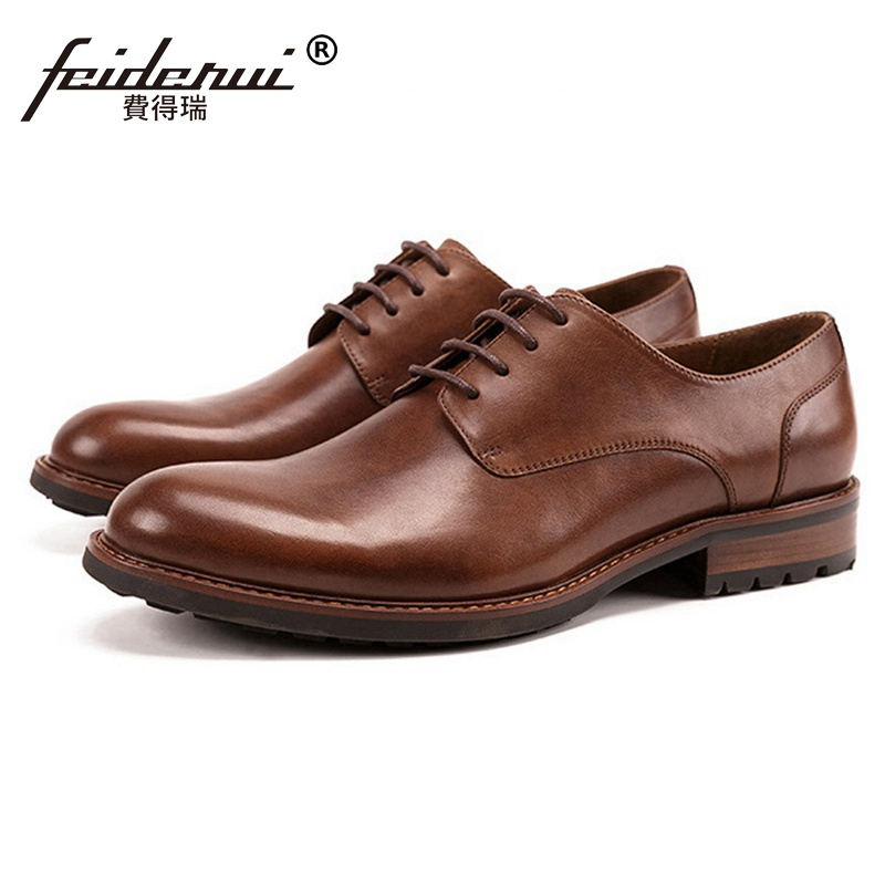 New Arrival Genuine Leather Wedding Party Men's Handmade Footwear Luxury Brand Round Toe Derby Formal Dress Man Shoes SS213 цена