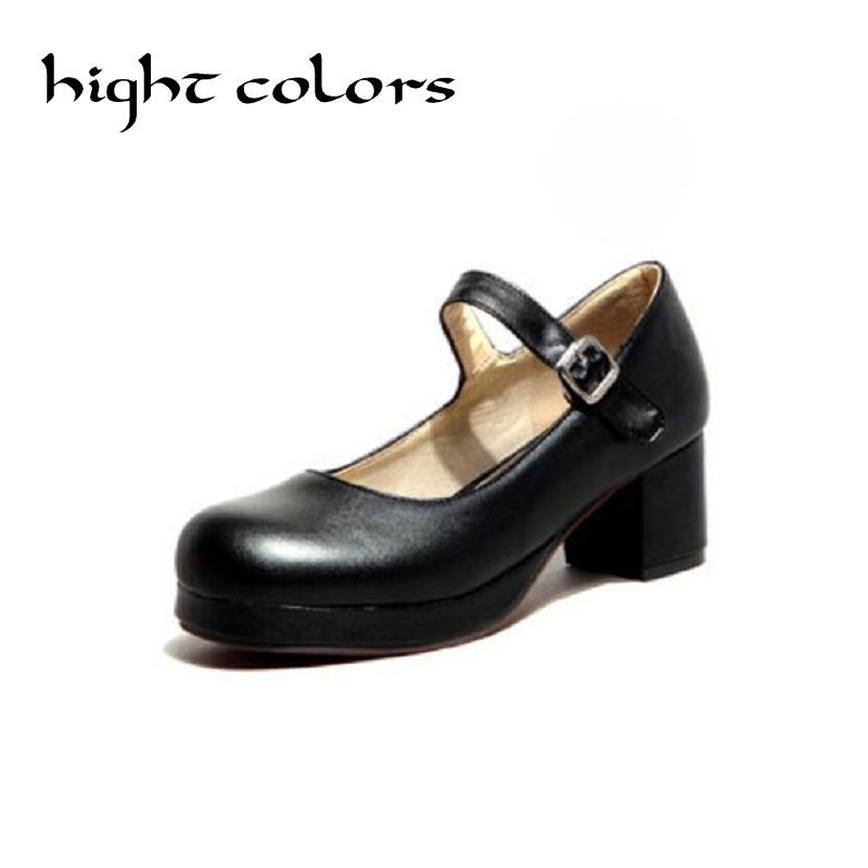 2018 New Ladies Sweet Black Candy Color Womens Mary Janes Pumps Low Heel Lolita Bowknot Shoes For Women Princess Shoes Big US 8 sky blue red leather princess girl sweet lolita wedge mary jane shoes