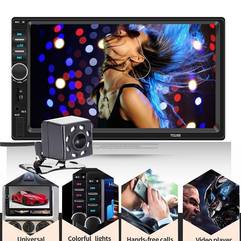 7 pouces 2 DIN Bluetooth multimédia écran tactile autoradio Double lingot connecté à l'appareil photo 7