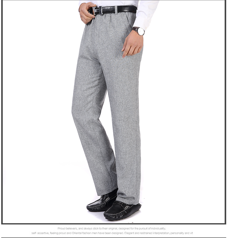 Summer Spring Man Linen Pant Dark Gray Business Casual Trouser Male Plus Size Elastic Band Waist Pantalones Homme Office Pant Plus Size (5)