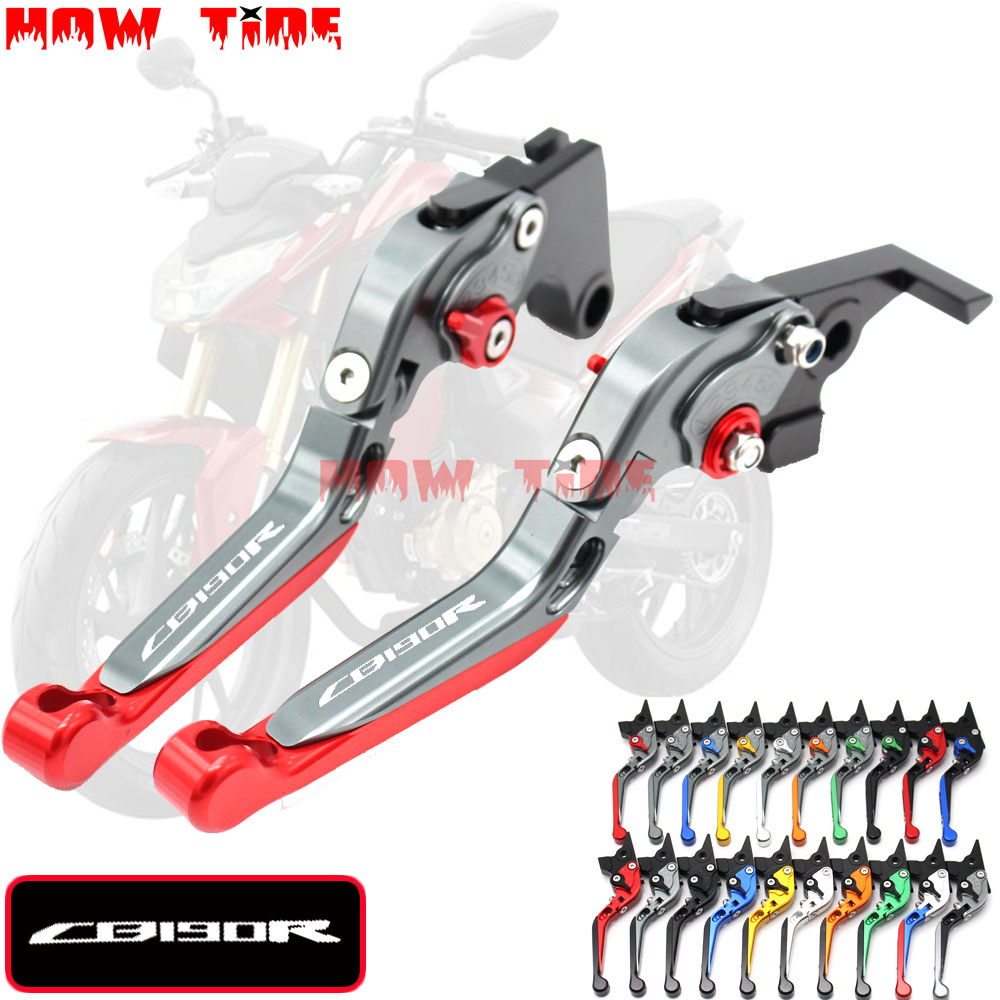 With Logo Motorcycle Folding Extendable CNC Moto Adjustable Clutch Brake Levers For Honda CB 190R CB190R CB 190 R 2015-2017 2016With Logo Motorcycle Folding Extendable CNC Moto Adjustable Clutch Brake Levers For Honda CB 190R CB190R CB 190 R 2015-2017 2016