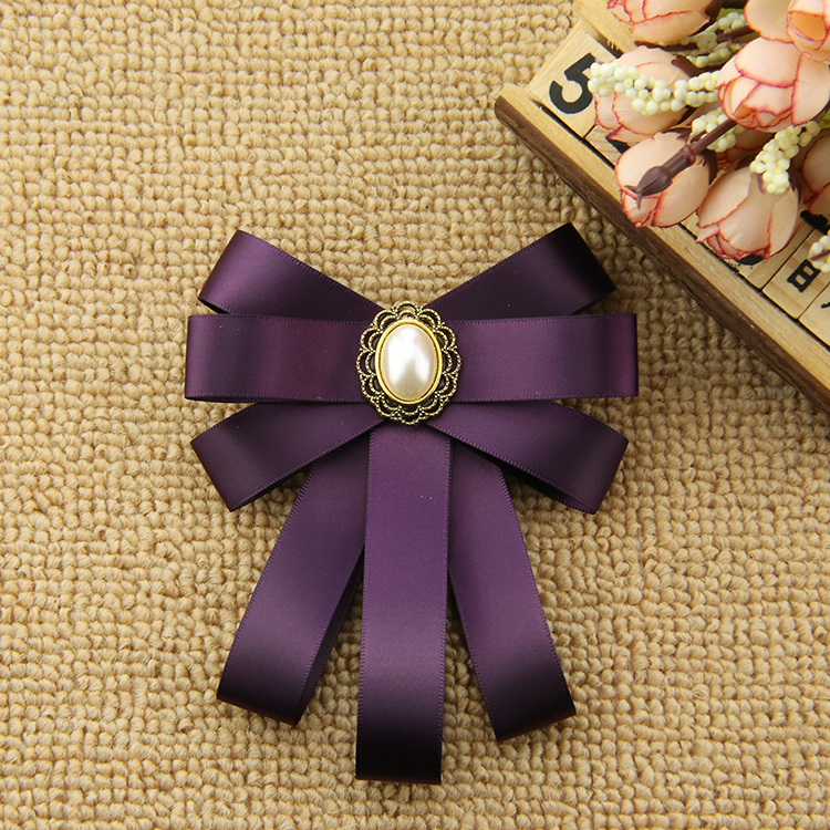 i-Remiel New Rhinestone Ribbon Bow Tie Brooch for Women Business Student Bank Lace Decoration Pin Shirt Suit Jewelry Accessories