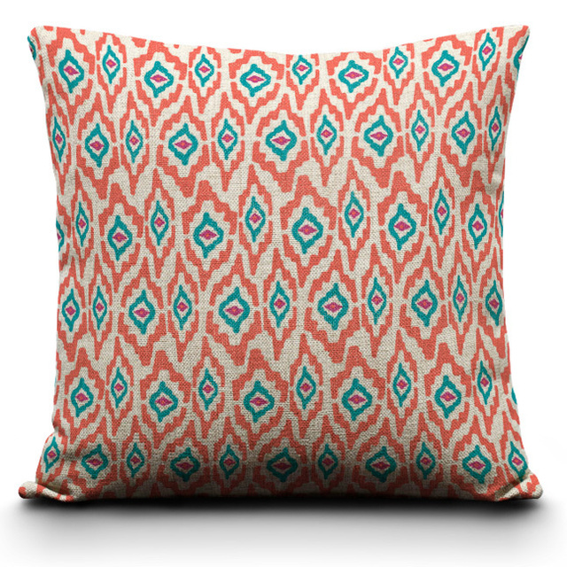 Ikat Decorative Throw PillowsGeometric Patterns Cushion Covers For Classy Red And Turquoise Decorative Pillows