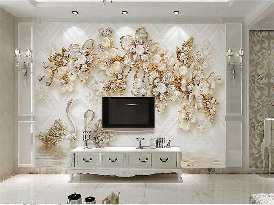 custom 3d photo wallpaper living room mural swan pearl flowers 3d painting TV sofa background wall sticker wallpaper for wall 3d custom photo wallpaper 3d stereoscopic relief statue living room tv background wall painting wallpaper mural papel de parede 3d