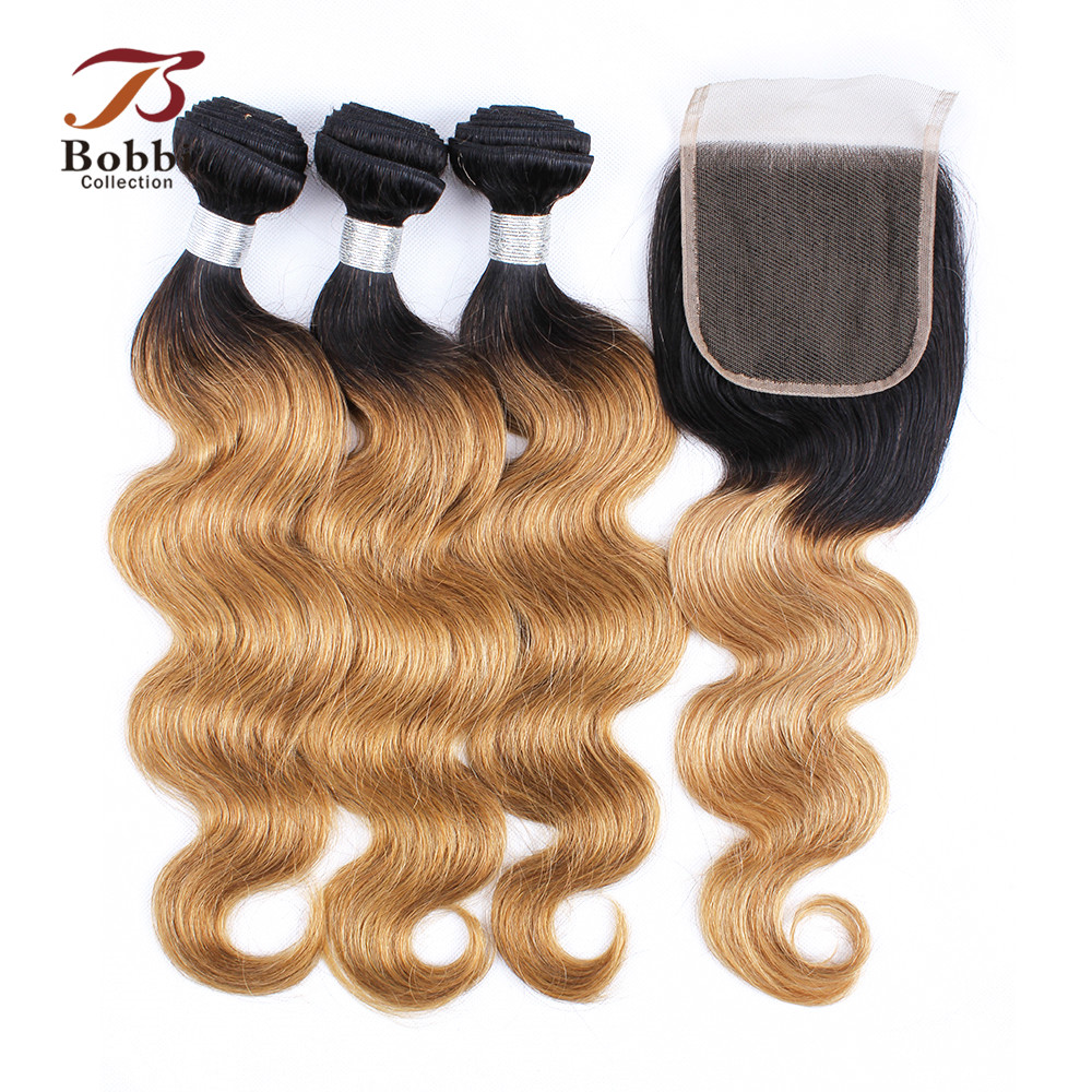 BOBBI COLLECTION T 1B 27 Indian Body Wave 2 3 Bundles Ombre Honey Blonde Bundles With