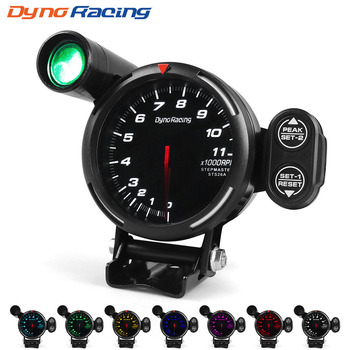 Dynoracing 80MM Tachometer RPM Gauge High Speed stepper motor 7 Colors 0-11000  RPM Meter With Shift Light and Peak warning
