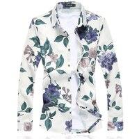 Hot Shirt Long Sleeve Mens 2017 New Men Lapel Floral Top Boy Good Quality Fashion Business
