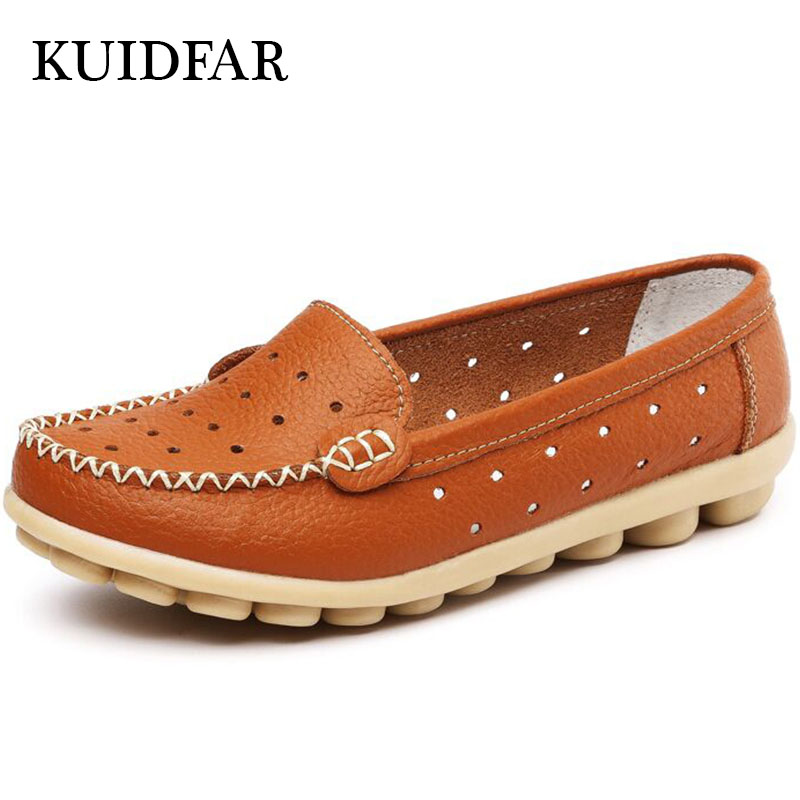 KUIDFAR Women Flas Loafers Mother Casual Shoes Moccasins Soft Leisure Flats Female Driving Shoes Woman Genuine Leather Shoes 2017 new leather women flats moccasins loafers wild driving women casual shoes leisure concise flat in 7 colors footwear 918w
